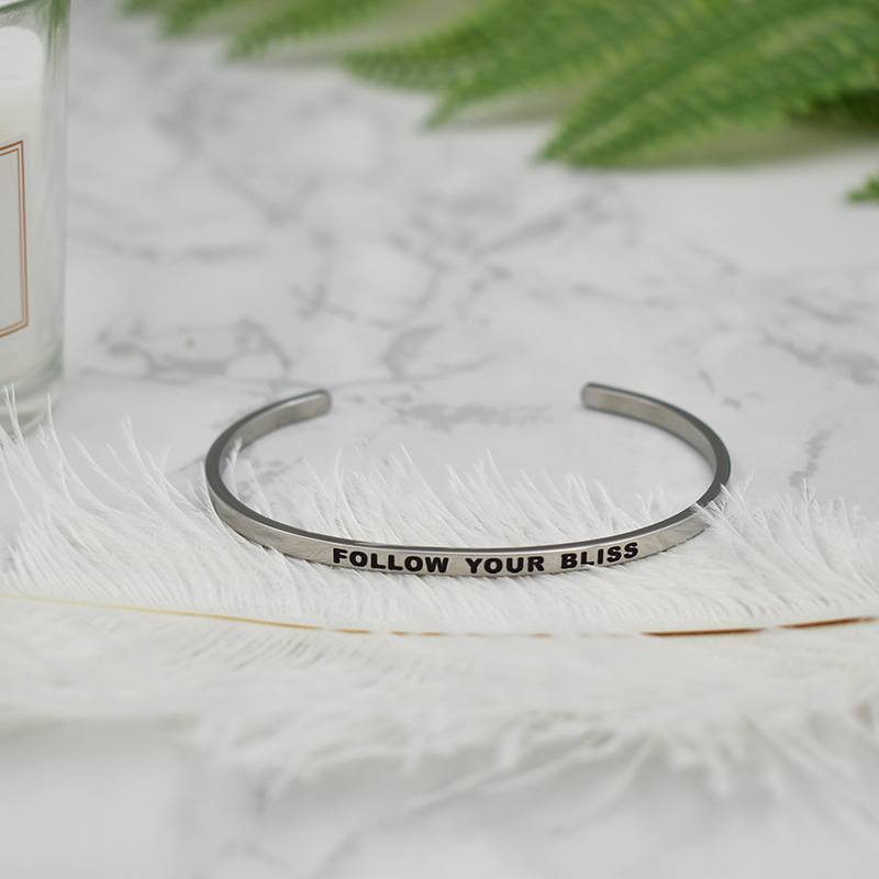 2019 Quote Bracelets 316L Stainless Steel Open Cuff Bangle Fashion Women Female Inspirational Jewelry Bangle in Bangles from Jewelry Accessories