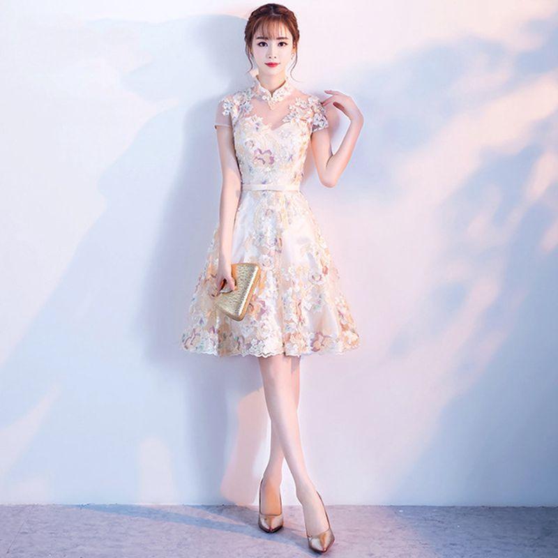 2019 nouveau chinois filles robe de soirée Sexy dentelle courte Qipao femmes fleur Cheongsam VISTIDOS mariée robe de mariée robe M-XXXL