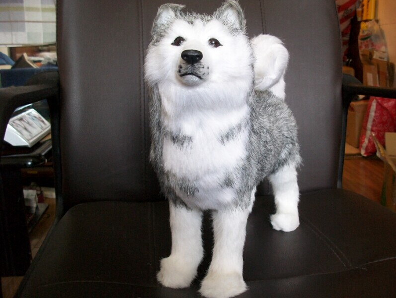 lovely simulation husky toys sitting husky dog doll gift doll about 30cm