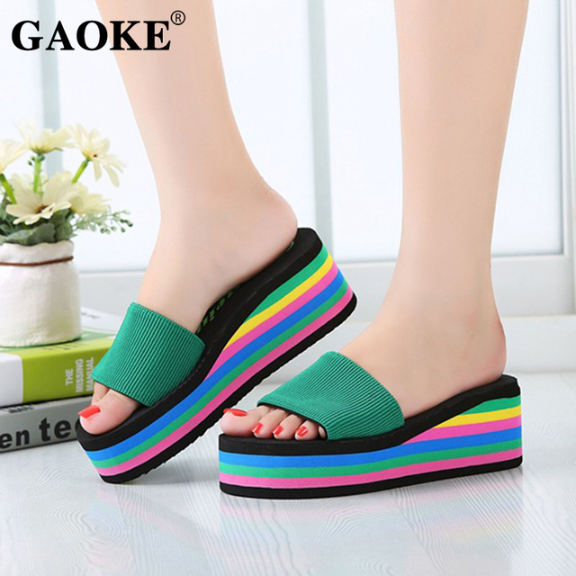 2018 Summer Woman Shoes Woman Sandal Slippers Platform Bath Slippers Wedge Beach Flip Flops High Heel Slippers Beach Slide Shoes