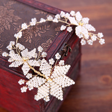 Vintage Handmade White Pearl Wedding Hair Vine Tiara Rhinestone Headband Bridal Accessories Women Hair Jewelry Headpiece