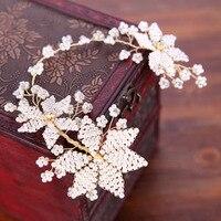 Vintage Handmade White Pearl Winorośli Tiara Rhinestone Pałąk Włosów Akcesoria Dla Nowożeńców Ślubne Kobiety Biżuteria Do Włosów Chluba
