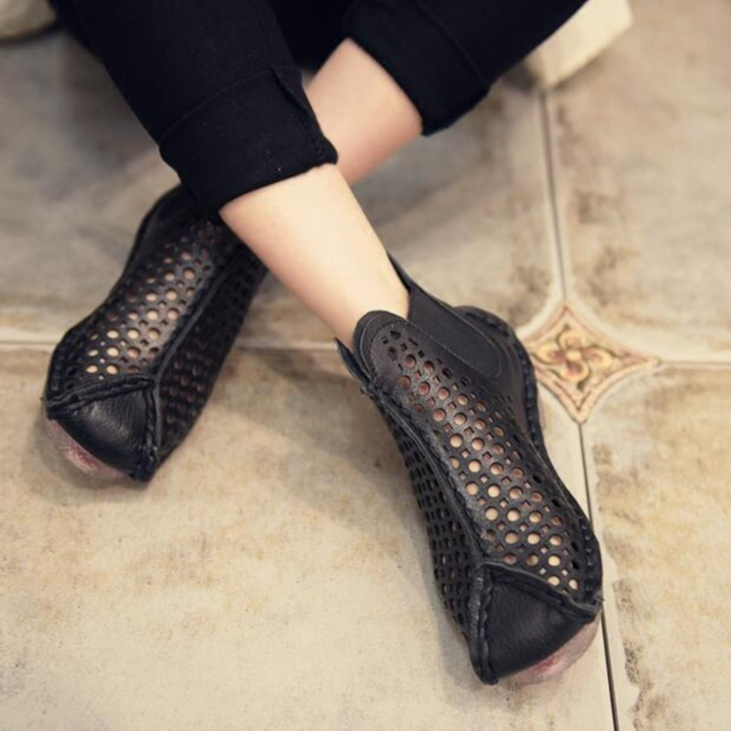Genuine leather handmade women's shoes spring cutout cool women boots hole shoes vintage soft outsole flat sandals S31904-19 handmade genuine leather boots vintage national trend women boots twiddlefish platform flat heels boots women shoes