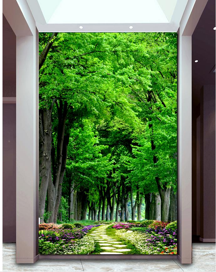 Home Decoration 3d Wall Murals Wallpaper Wood Slate Path Garden Green  Forest Entrance Wallpapers For Living