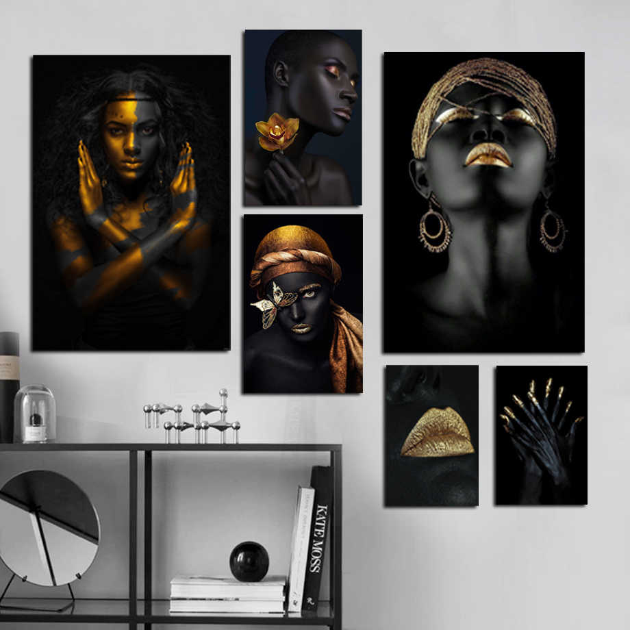 Black Gold Makeup Woman Frame Scroll Painting Modern Canvas Art Prints and Poster Wall Painting Wall Art Picture Home Decoration
