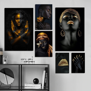 Marco de maquillaje negro y dorado para mujer, pintura de desplazamiento, impresiones artísticas en lienzo moderno y póster, pintura para pared, arte para pared, imagen para decoración del hogar