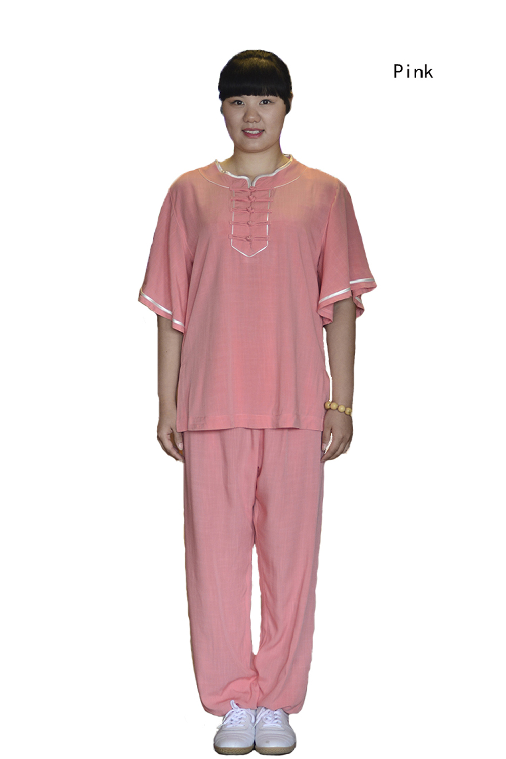 Female Slub Short Sleeve Tai Chi Clothing Linen Suit Summer Home Wear