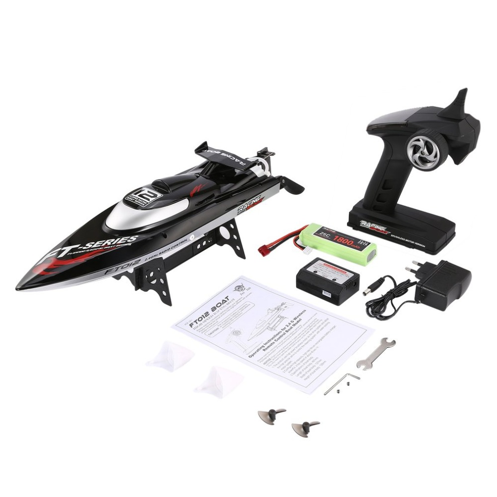 Feilun FT012 2.4G 45km/h RC Boat High Speed Racing Boat Speedboat Ship with Brushless Motor Water Cooling System Flipped RTR h625 pnp spike fiber glass electric racing speed boat deep vee rc boat w 3350kv brushless motor 90a esc servo green