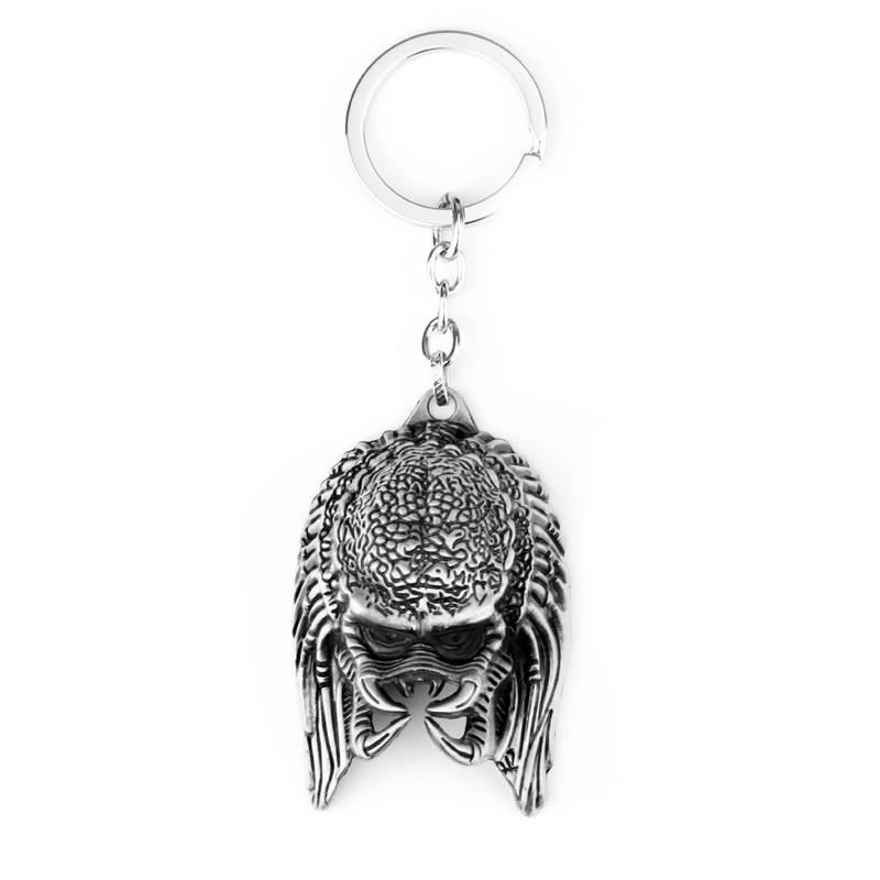 Fashion Movie Alien War Jagged Warrior Mask Keychain Classic Predato Alloy AVP Cool Hardcore Keyring Pendant Gift Car Accessory