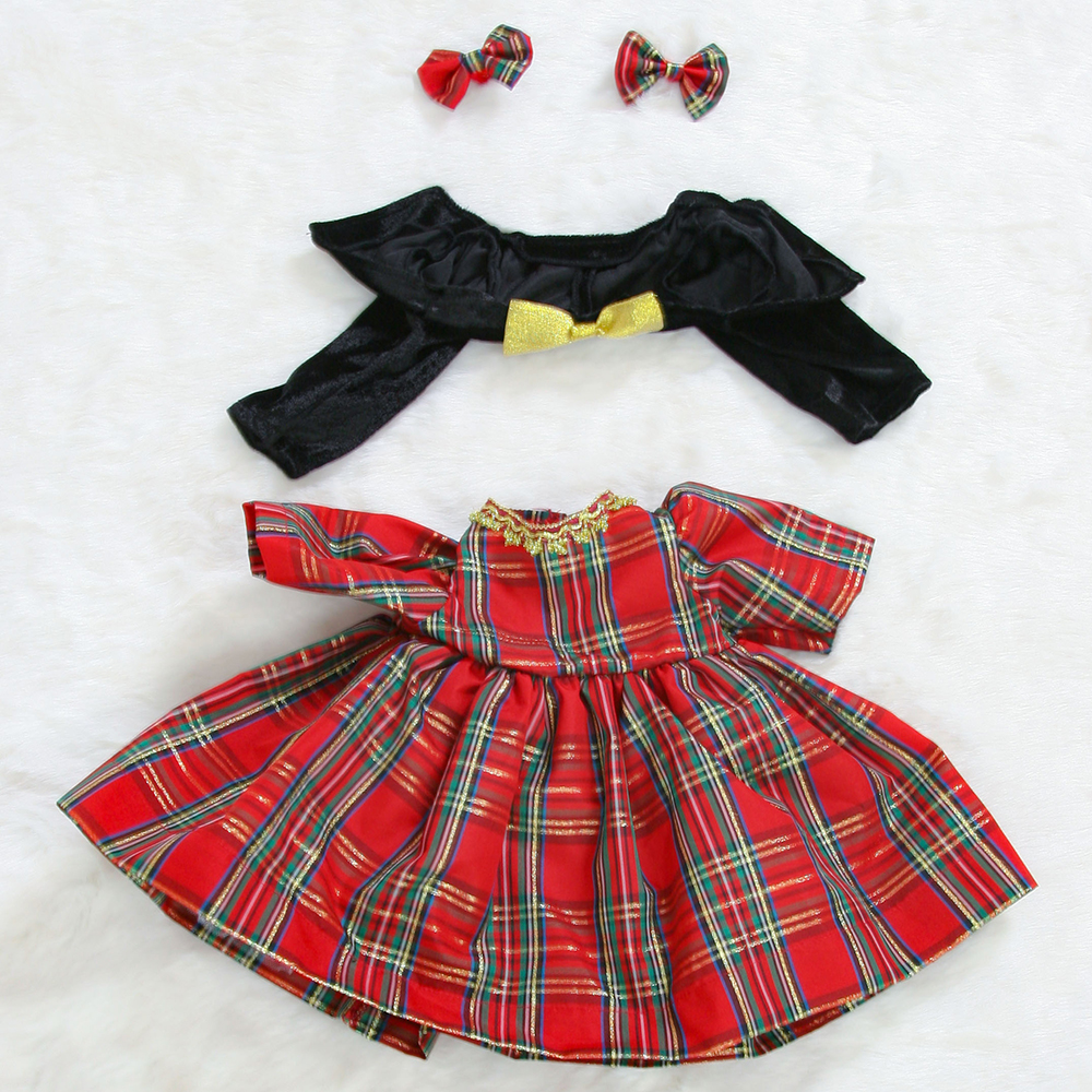 Reborn Doll Clothes Princess Girl Toddler Dolls Outfit Fit For 24/ 61 cm Doll Four Piece Red Plaid Skirt Set As Picture Show