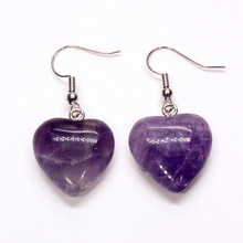 Trendy-beads Romantic Silver Plated Cute Heart Natural Amethysts Dangle Earrings Valentines Day Jewelry