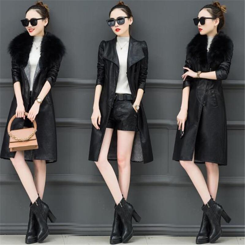 Femme Daim Long La Coupe Moto Nouvelles Taille Collar Hiver Femmes 337 gray 4xl Cuir Plus Collar Manteau Veste M En vent Faux Mode Black Fur bImfY6g7yv