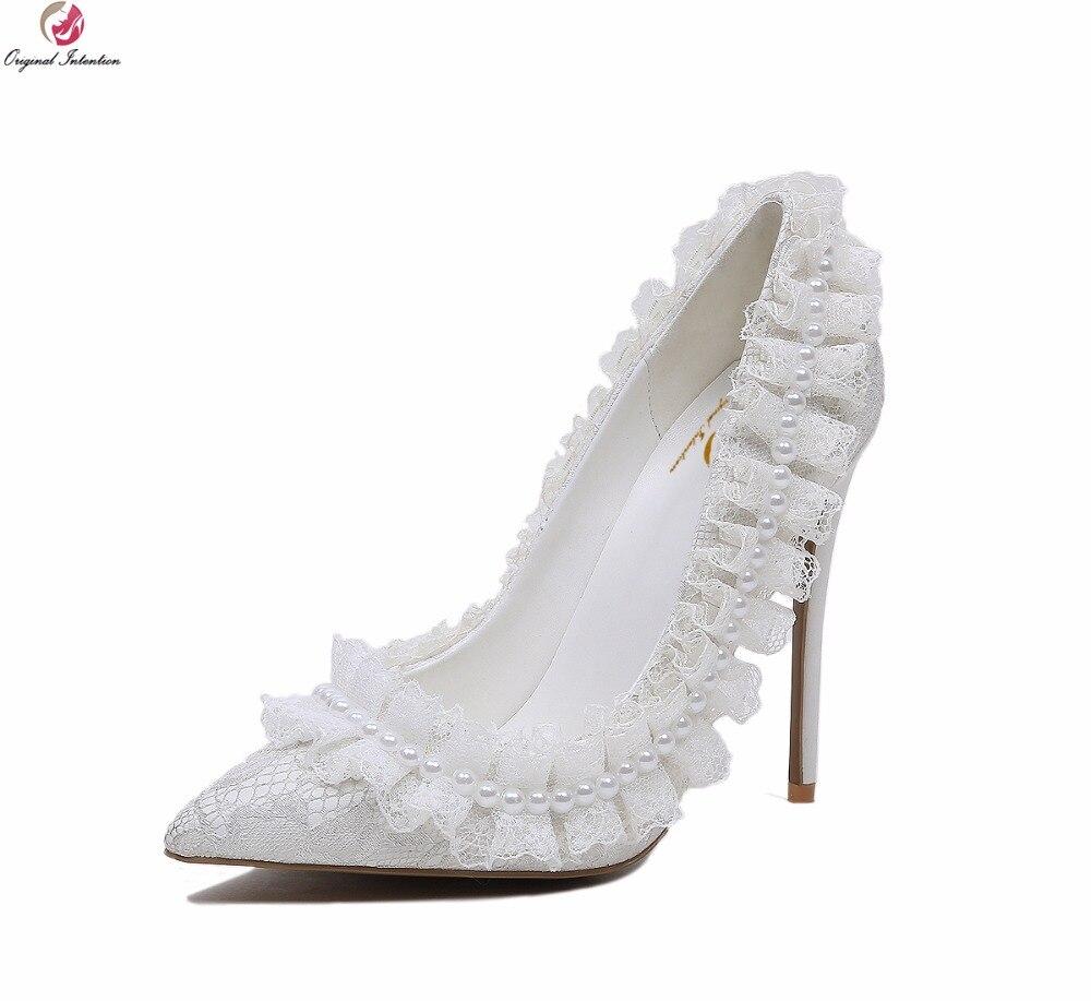 Original Intention Gorgeous Women Pumps Elegant String Bead Pointed Toe Thin High Heels White Shoes Woman Plus US Size 4-10.5 creativesugar elegant pointed toe woman