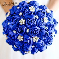 modabelle Royal Blue Pearls Bridal Brooch Bouquets Crystal Satin Wedding Bouquets Artificial Wedding Flowers Bride Bouquets