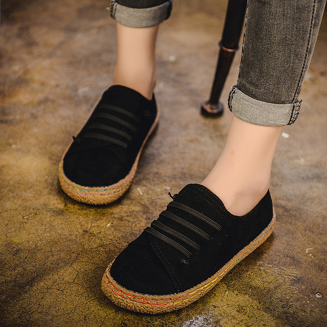 Flat Shoes Women Autumn Shoes Woman Casual Lace-up Flats Comfortable Round Toe Loafers Shoes Fashion Flat Shoes 856 3