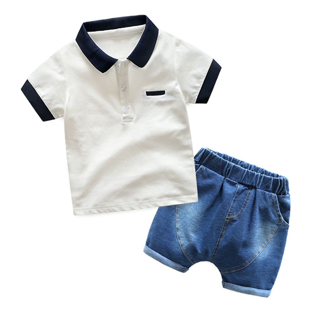 Baby Boys Summer Denim Lapel Clothes Kids Polo Short Sleeve T Shirt+ Jean Shorts Pants Suits Children Leisure Clothing Sets
