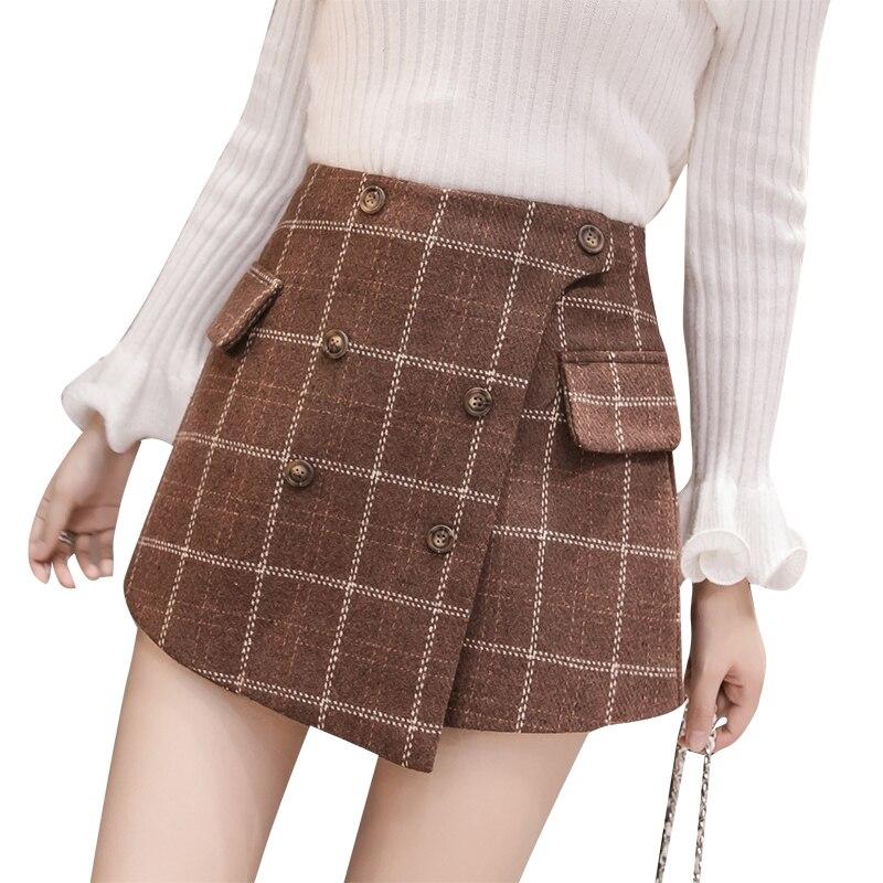INDJXND Plus Größe 2018 Mode Herbst Winter Frauen Gerade Große Verdicken Plaid Casual Elastische Taille Baumwolle Gitter Lose Kurze