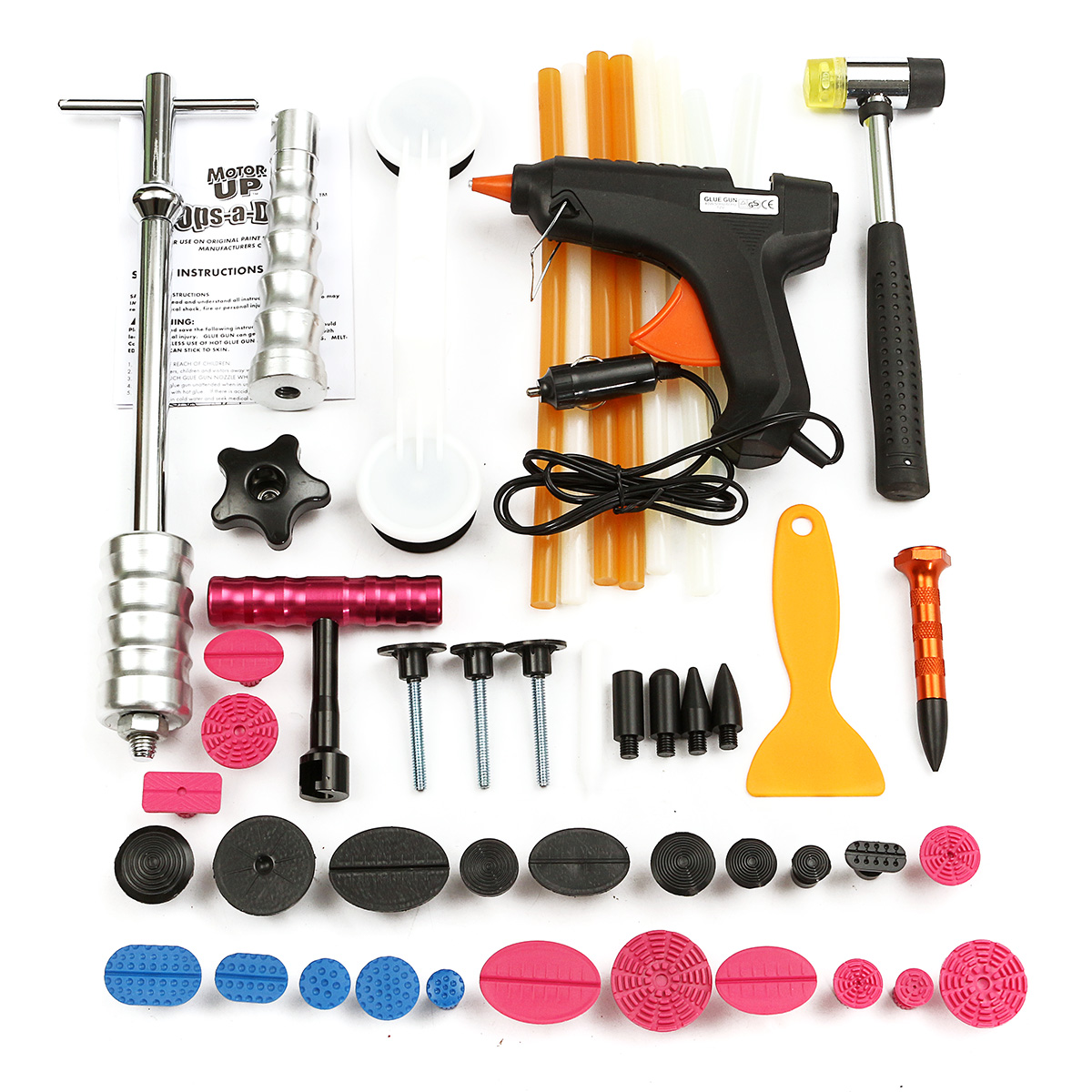 1Set PDR Tools Car Repair Tool Set Dent Removal Slide Hammer Puller Lifter Kit Paintless Dent Repair Tabs with Glue-Gun цена