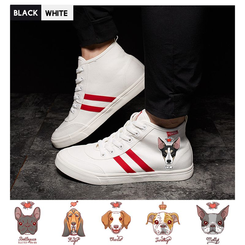 Men's Vulcanize Shoes Cute Corgi Dog Cat Fruit Printed Shoes Graffiti High Heel Double-layer Canvas College Personalise Fashion A194112 Shoes