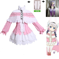 Anime Kanna Kamui Cosplay Costume Skirt Wig Cloak Sets Clothes Miss Kobayashi's Dragon Maid Kanna Anime Party Cosplay For Women