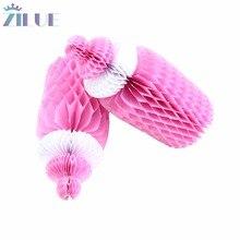 цена на Zilue 1pc (Pink,Blue) Cute Honeycomb Baby Bottle Nursing Bottle Paper Decoration for Baby Shower Centerpieces Gift Table Decor