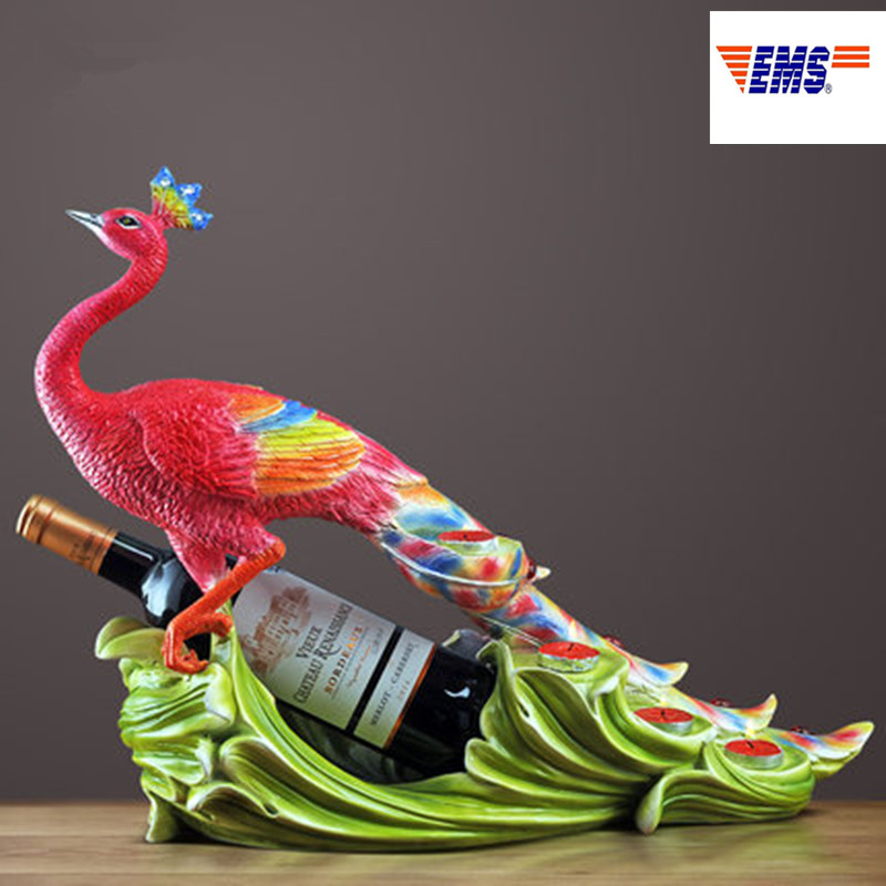European Style Simulation Peacock Resin Red Wine Rack Personality Living Room Decoration Accessories Housewarming Gifts X1051European Style Simulation Peacock Resin Red Wine Rack Personality Living Room Decoration Accessories Housewarming Gifts X1051