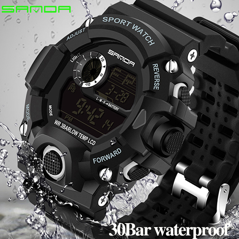 SANDA Digital LED Watch Men Waterproof Sport Men Watch 2018 Luxury Brand Military Wristwatch For Male Clock Relogio Masculino