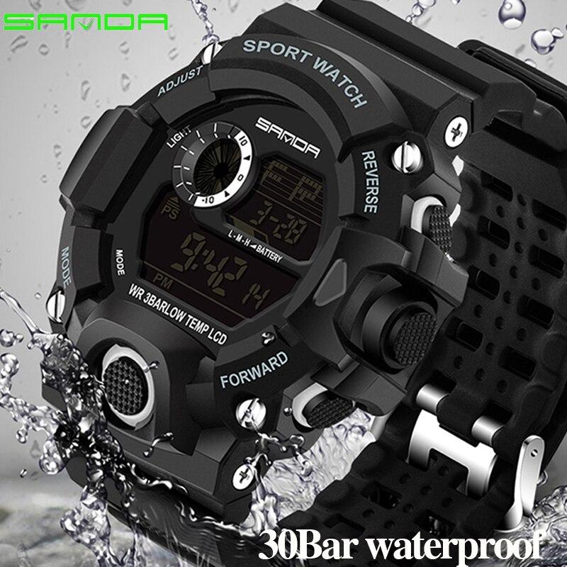 SANDA Digitale LED Uhr Männer Wasserdichte Sport Männer Uhr 2018 Luxus Marke Military Armbanduhr Für Männlichen Uhr Relogio Masculino
