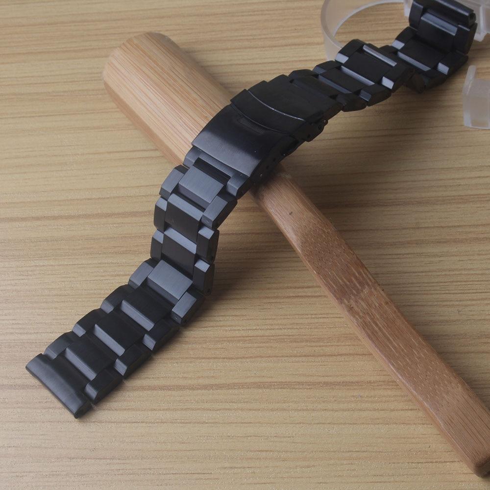Sort rustfrit stål urbånd med sikkerhed klapspænde 18mm 20mm 22mm 24mm Herre armbåndsure bånd armbånd metal nye