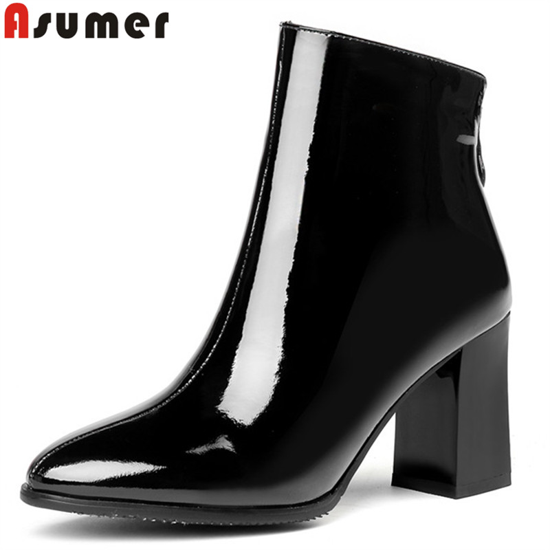 ASUMER black white fashion autumn winter boots women round toe zip square high heels boots cow patent leather boots big size anmairon new cow split women boots shoes high heels knee high autumn winter boots big size 34 40 boots flats tassel zip black