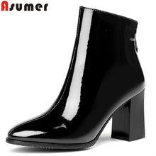 b4a64511b8c ASUMER black white fashion autumn winter boots women round toe zip square  high heels boots cow