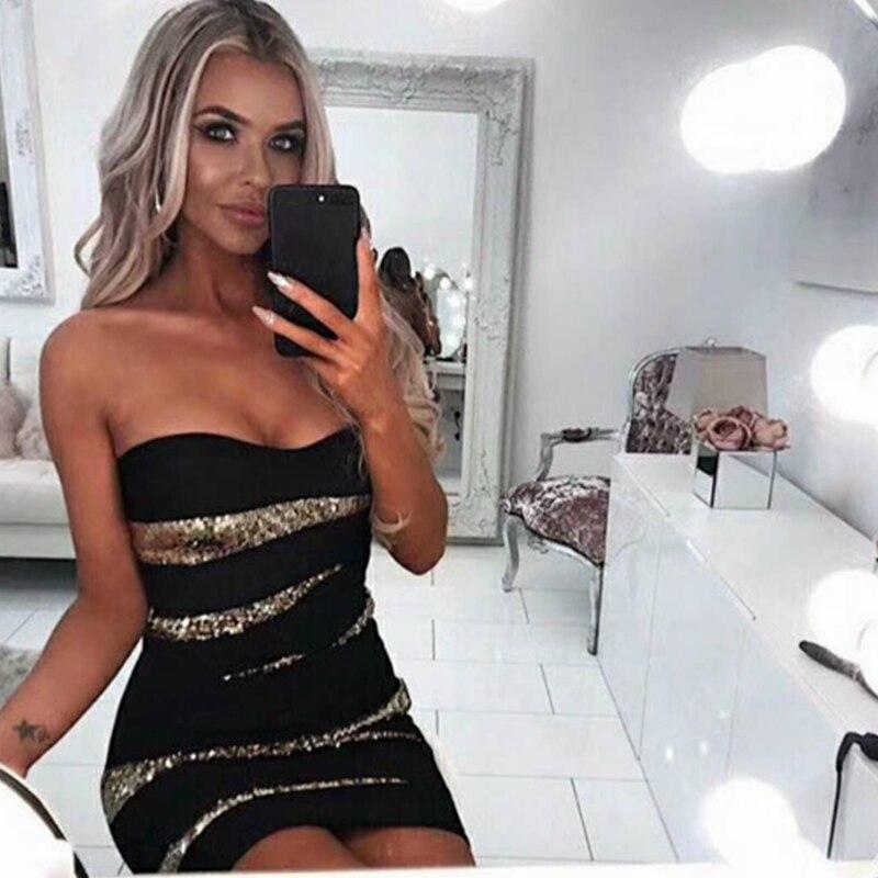 2019 Spalla Del Fuori Fasciatura Festa Club Sexy Nero Vestito Più Estate Aderente Elegante Patchwork Arriva Chic Abiti Dalla Nuovo Da wqXWgIZ