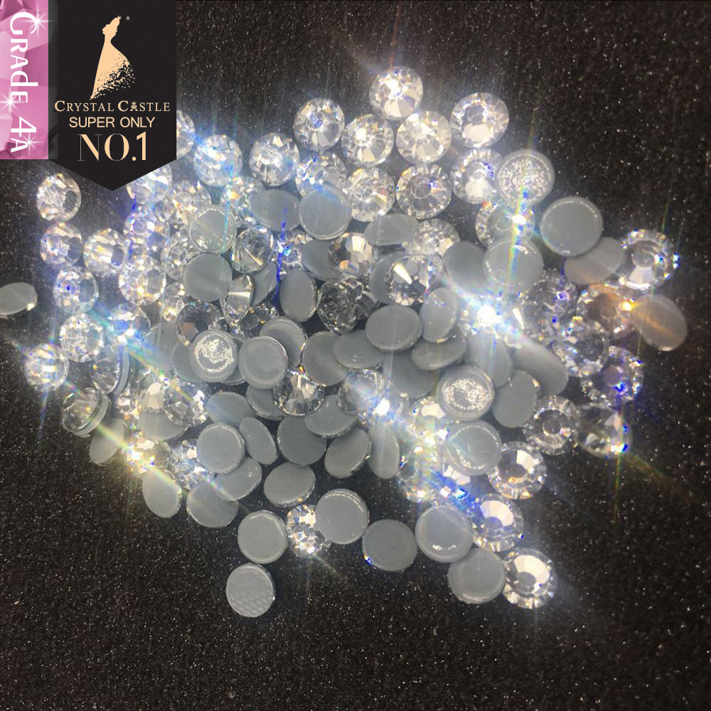 Crystal Castle Hot fix Rhinestones 4A Clear Crystal Strass Hotfix Rhinestone For Clothes Non Hot Fix Nails Stones And Crystals
