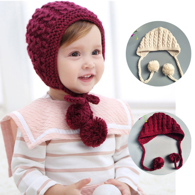 2ad2cfa68952e Cute Knit Baby Girl Hat With Two Pom Pom Baby Autum Winter Hat Beanie Infant  Toddler Bonnet Warm Cap Kids