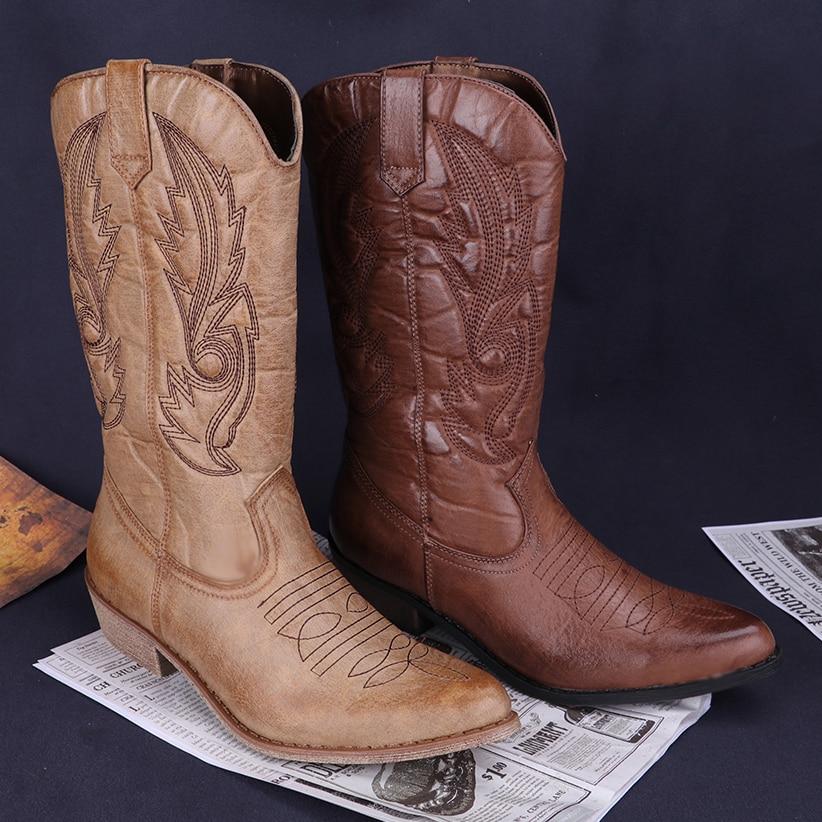 girl Cow Femmes Vintage Genou marron En Pour Bottes Carrés Cuir Haute Beige Chaussures Western Pointu Talons Classique De Bout Cowboy 17qPIR7