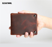 Leacool Genuine Cow Leather Men Wallet Fashion Coin Pocket Brand Trifold Design Men Purse High Quality Male Card ID Holder