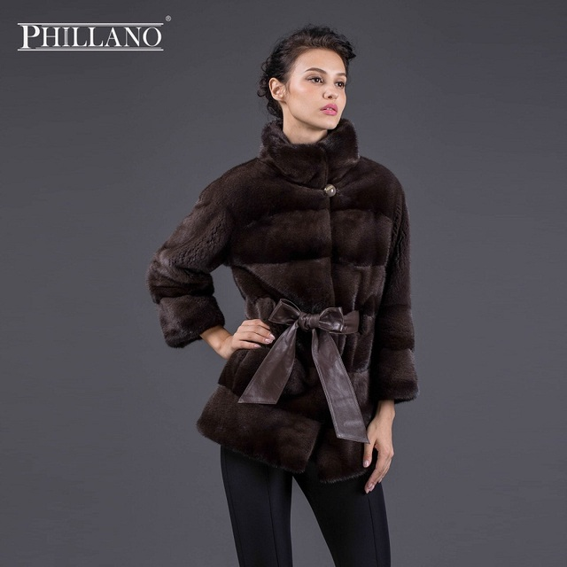 2017 PHILLANO Winter Jacket Women Real Fur Coat Belted Black Shot ...