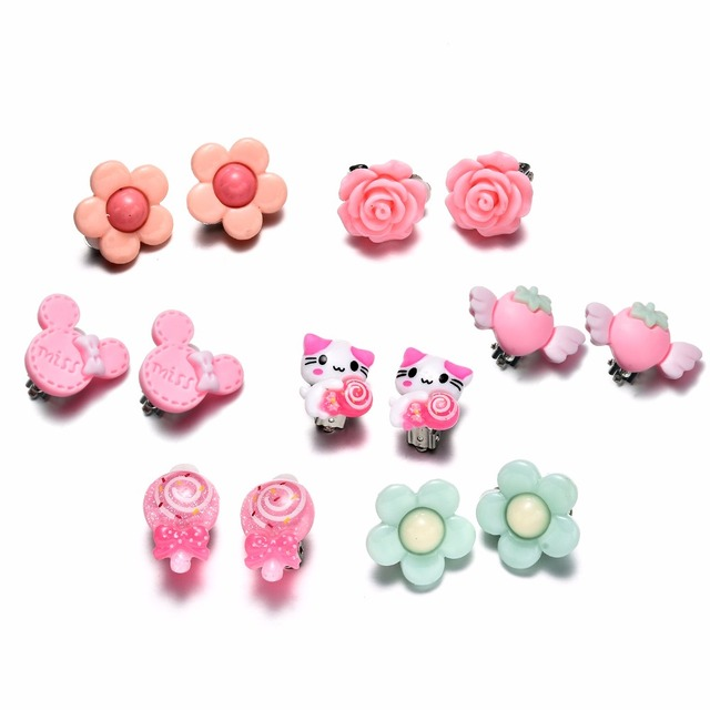 7 Pairs Kids Toddler Little Girls Clip On Earrings Value Set Birthday Party Gift