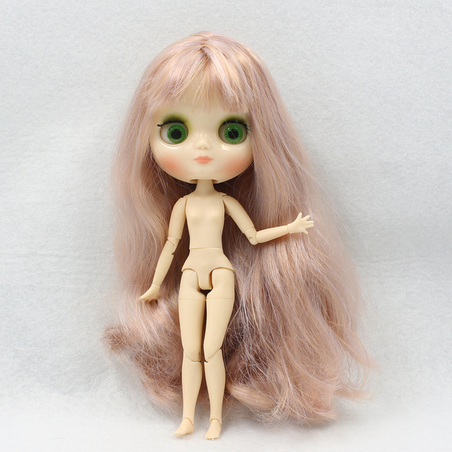 Factory Middie Blythe Doll Purple Golden Hair Jointed Body 20cm