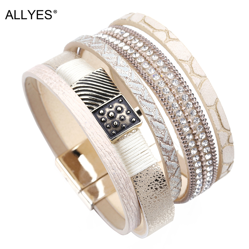 ALLYES Multilayer Leather Bracelets For Women Jewelry Trendy Alloy Charm Crystal Bohemian Khaki Color  Wide Wrap Bracelet Femme