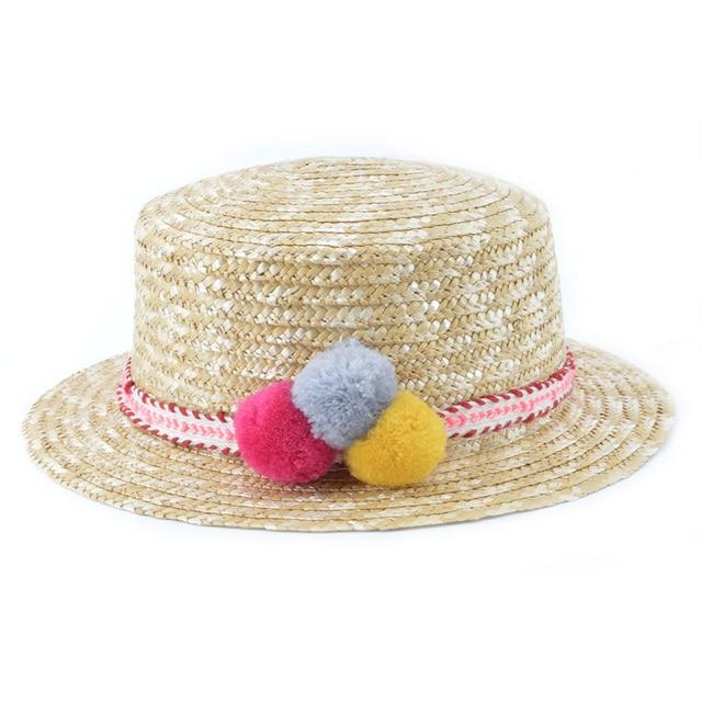 ae0f8a5889246 Baby Girl Handmade Straw hat Casual Girl s Garland Sunbonnet Bucket Hat  girls Roll-up Hem Beach Cap kids Sun hat CM-013