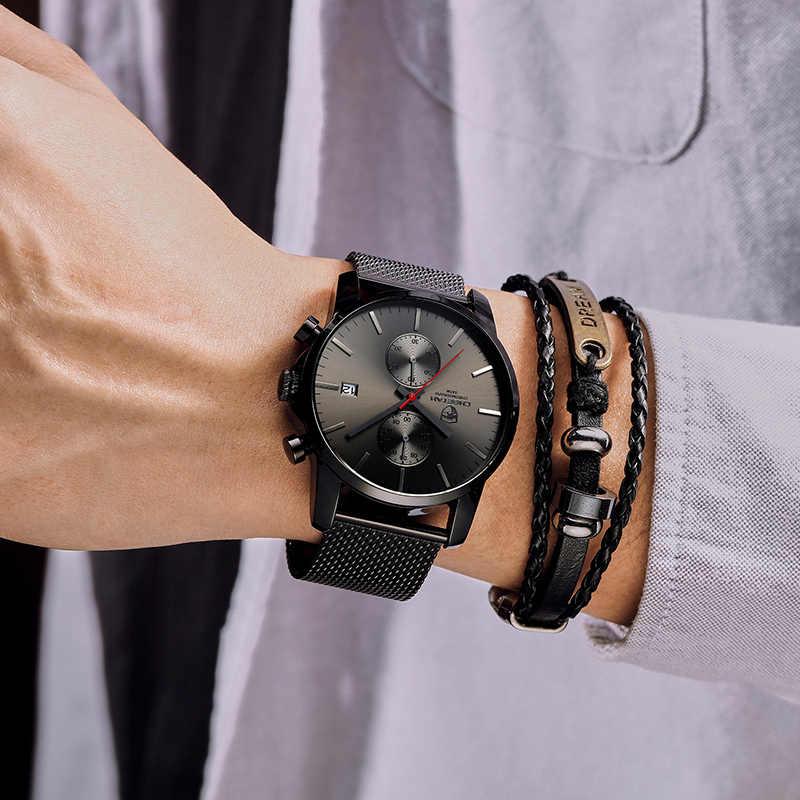 Top de Luxo Da Marca Homens de Negócios Relógios Cronógrafo À Prova D' Água relógio de Quartzo Analógico relógio de Pulso de Aço Completa Masculino Relógio Relogio masculino