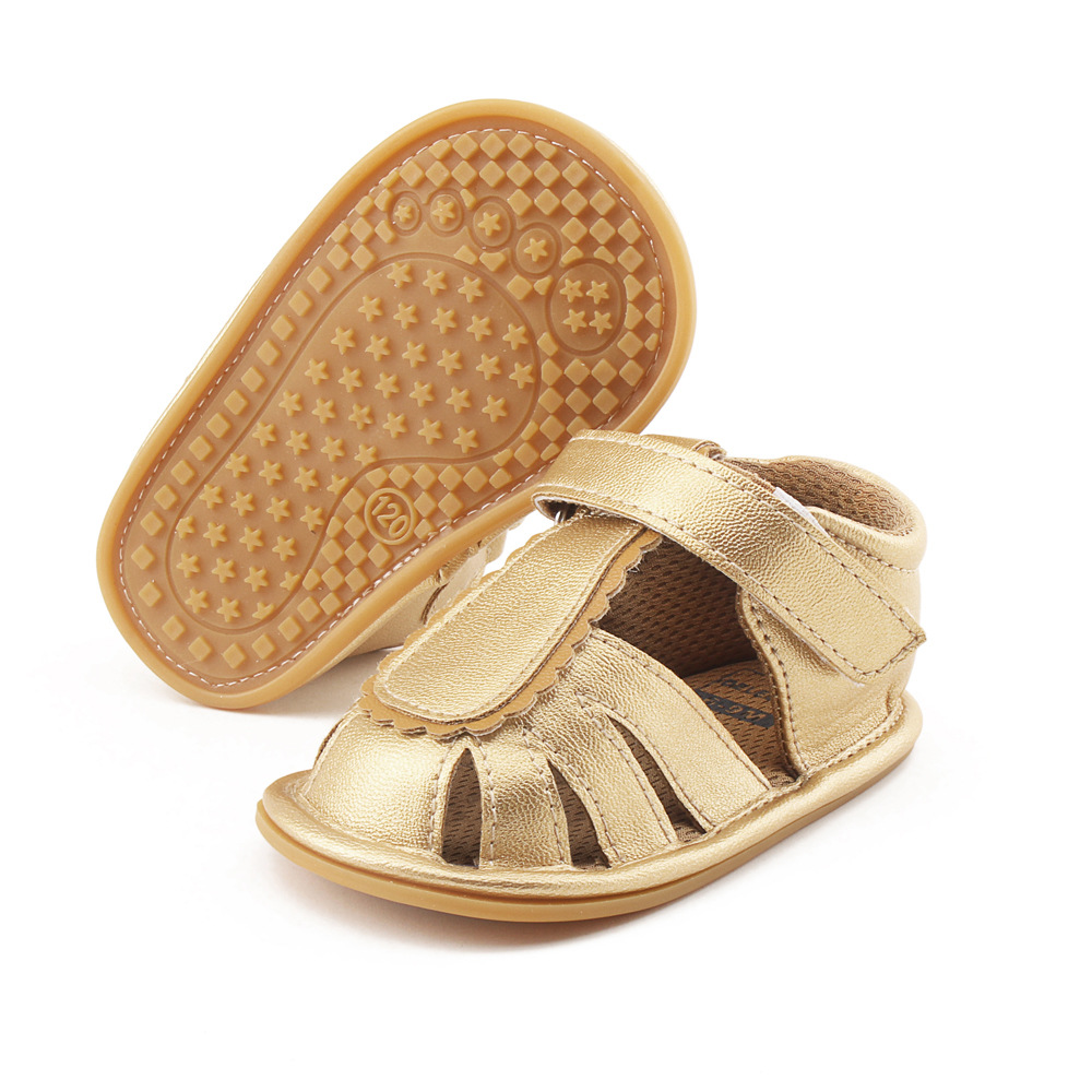 New fashion gold pu leather baby boys sandals summer hard rubber sole baby moccasins 0-18M first walker sandals