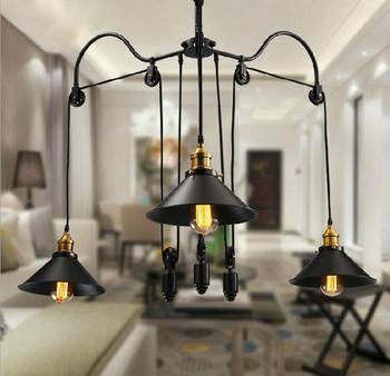 Loft phong cách cổ điển chiếu sáng công nghiệp Ròng Rọc Mặt Dây Chuyền Đèn 3 đèn Đảo Foyer mặt dây Ăn Mặt Dây Chuyền Nghiên Cứu phòng Kim Loại