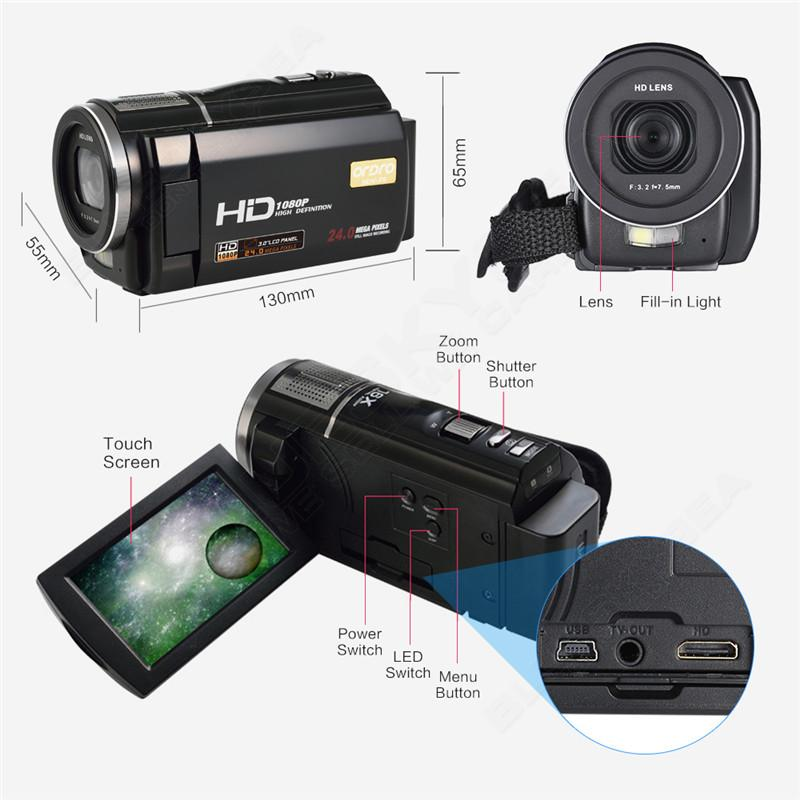 """ORDRO HDV-F5 1080P Digital Video Camera Max 24MP 16X Anti-shake 3.0"""" Touch Screen LCD Camcorder DV With Remote Controller 11"""
