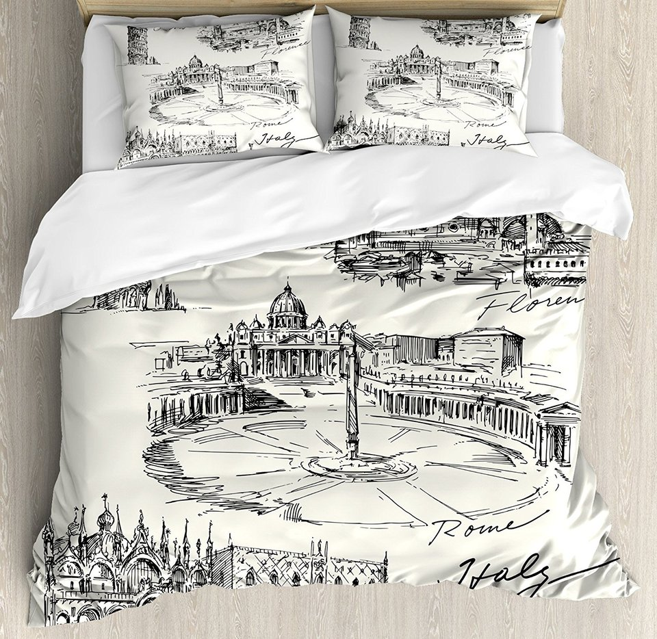 Sketchy Duvet Cover Set Travel The