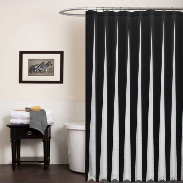 Waterproof Black White Fabric Bathroom Shower Curtain Liner Polyester Decor Simple Style