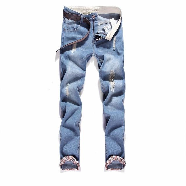 Jeans Hombres Rotos Largos Vaqueros Simple Denim Pantalón Slim Harem Pantalones MRUc2Jpxy