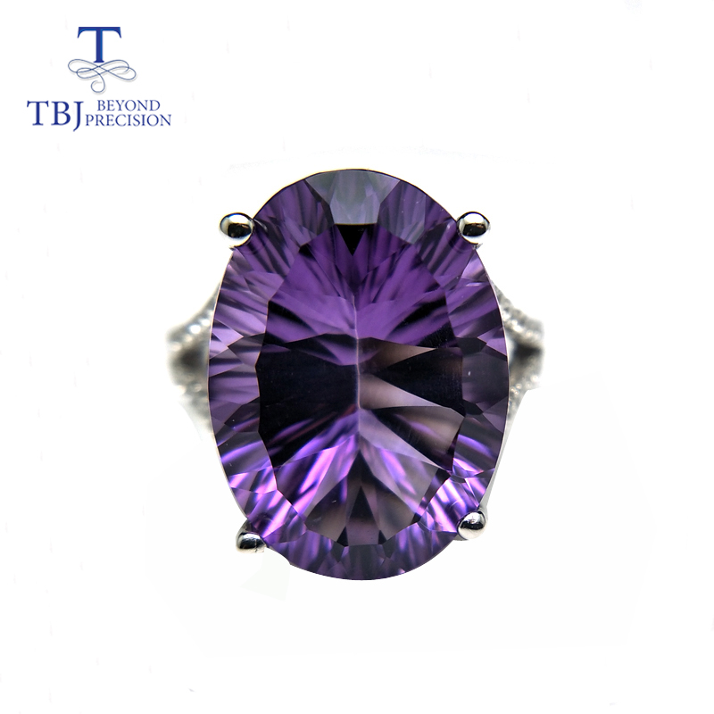 TBJ,Natural Big Brazil deep color amethyst concave gemstone Ring in 925 sterling silver for Anniversary gift for lady with boxTBJ,Natural Big Brazil deep color amethyst concave gemstone Ring in 925 sterling silver for Anniversary gift for lady with box