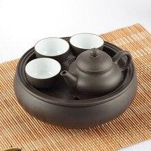Heißer Verkauf Teekanne Chinesischen Porzellan Yixing Zisha Teekanne + 3 Tassen Kung Fu Tee + Tee-Set Teekannen Handgefertigten Zisha Keramik Wasserkocher